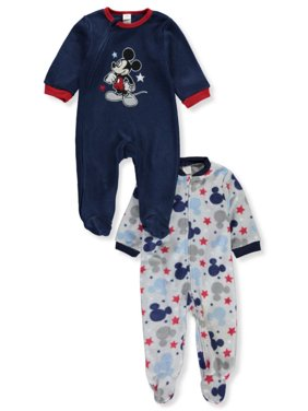 Mickey Mouse Starry Fleece 2-Pack Footed Coveralls - navy/multi, 6 - 9 months