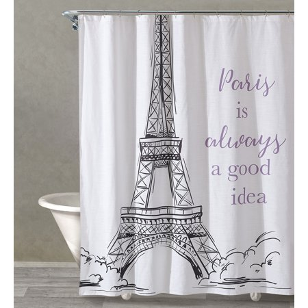 Style Quarters YES TO PARIS - BLACK Print Shower Curtain - Eiffel Tower with Scripts