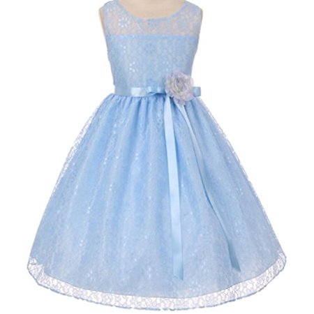 Big Girls' Elegant Sleeveless Floral Lace Satin Sash Flower Girl Dress Blue 10 - Flower Girl Blue Dress