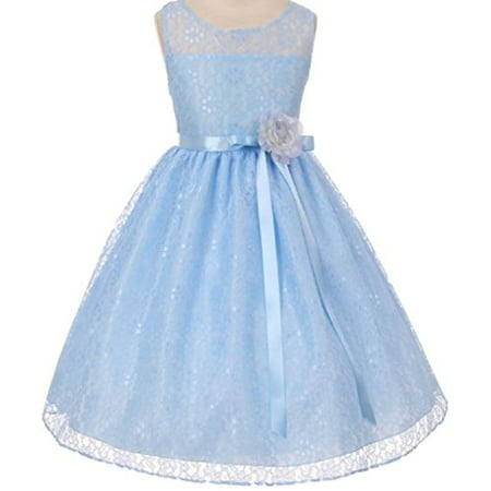 Big Girls' Elegant Sleeveless Floral Lace Satin Sash Flower Girl Dress Blue 10 (K63K78) - Blue Girls Dress
