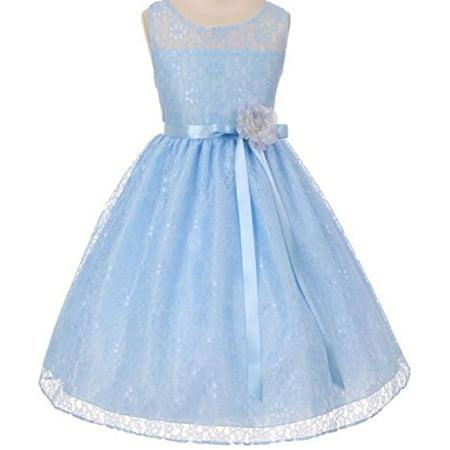 Girls Belle Dress (Big Girls' Elegant Sleeveless Floral Lace Satin Sash Flower Girl Dress Blue 10)