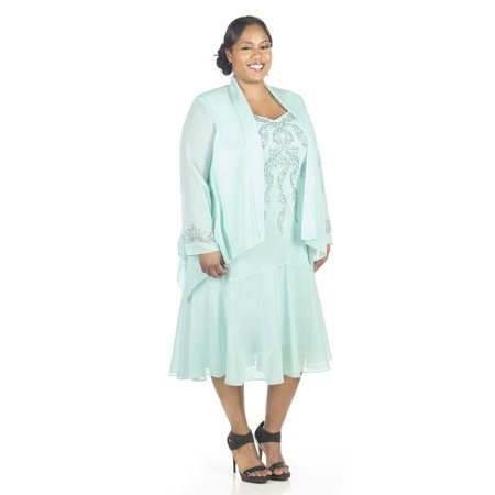 84ffbb51e61 R M Richards - R M Richards Women s Plus Size Beaded Jacket Dress - Mother  of the Bride Dresses - Walmart.com