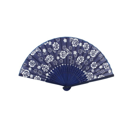 Unique Bargains Bamboo Ribs Florals Printed Chinese Minority Fabric Foldable Craft Hand Fan - Chinese Bamboo Hat