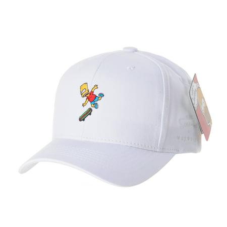62786788758b5 WITHMOONS The Simpsons Ball Cap Bart Skateboard Matt Groening HL1582  (White) - Walmart.com