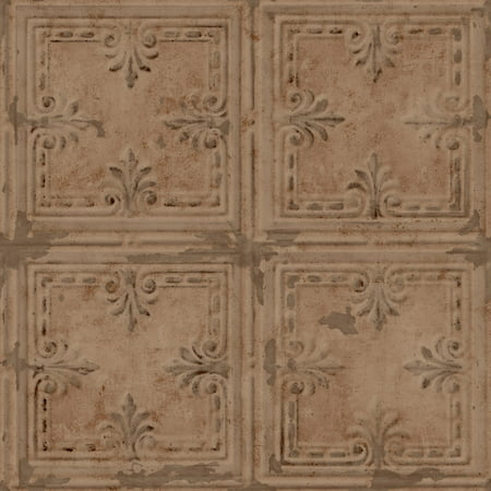 Tin Tile Wallpaper - RoomMates Copper Tin Tile Peel and Stick Wallpaper