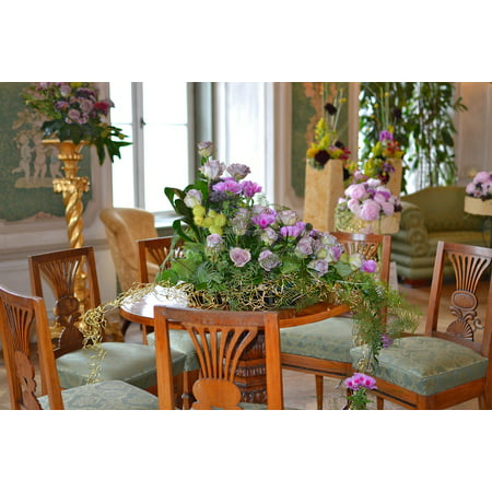 Canvas Print Floristry at The Castle Decoration with Flowers Stretched Canvas 10 x - Castle Decorations