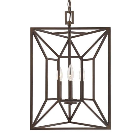 Capital Lighting Three Light Three-sided Foyer, Burnished Bronze Finish