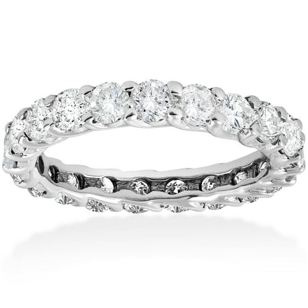 - 3 ct Round Diamond Eternity Wedding Ring 14K White Gold Womens Stackable Band