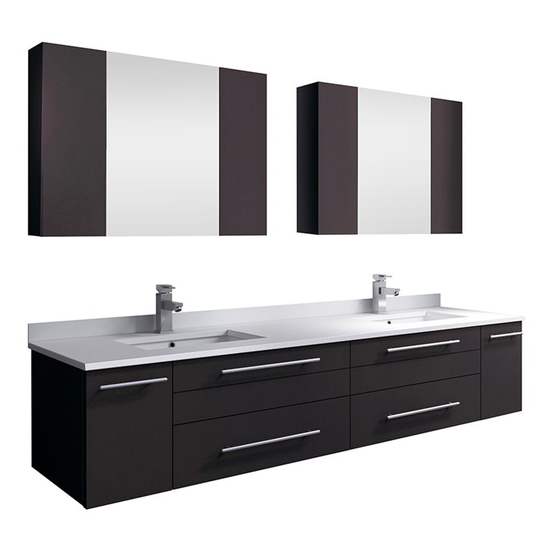 Fresca Lucera 72 Wall Hung Double Undermount Sink Bathroom Vanity In Espresso Walmart Com Walmart Com