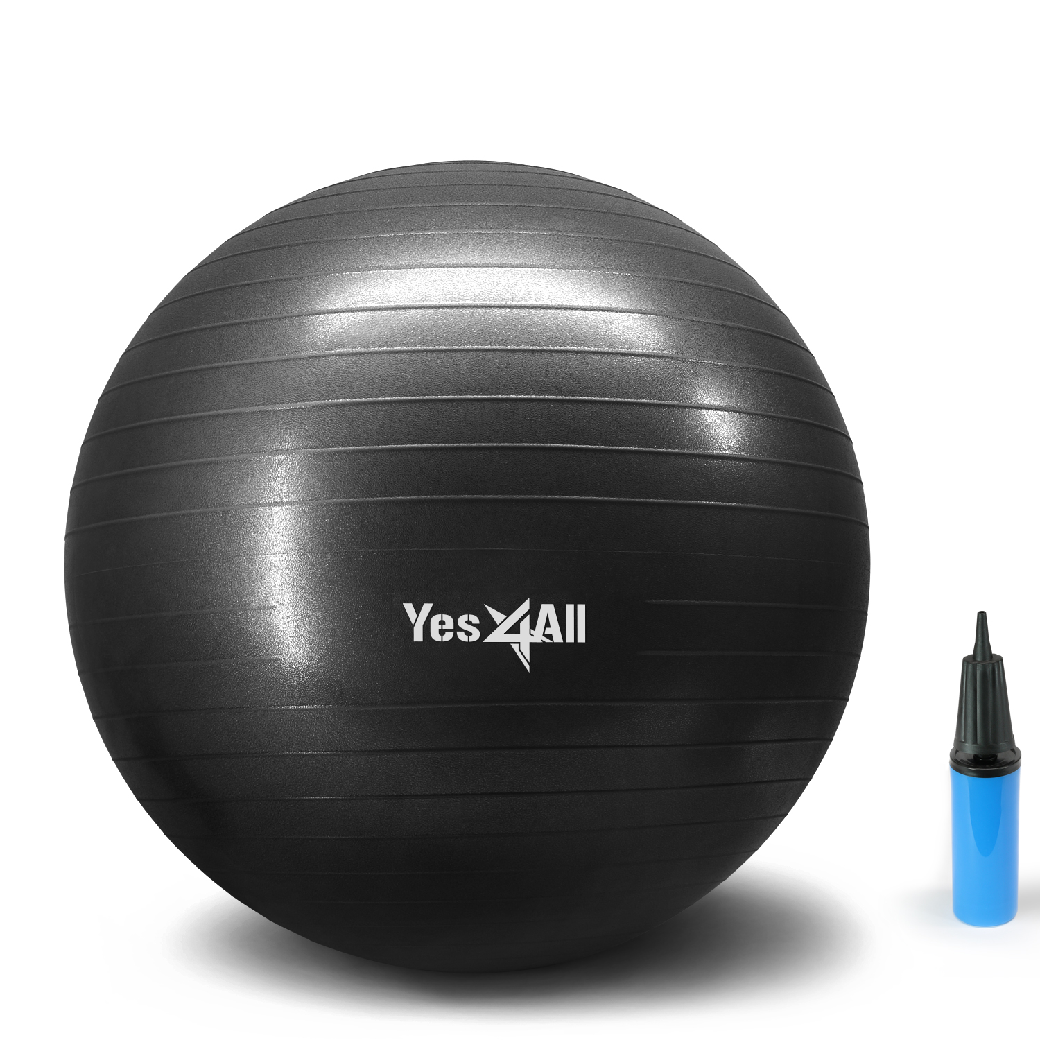 Yes4All Yoga Exercise Ball with Pump (Hand) – Anti Burst & Extra Thick Stability Ball / Balance Ball / Fitness Ball – Small Yoga Ball (55 cm, Black)
