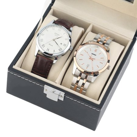 Black Plain Pattern 2 Grid PU Leather Watches Display Case Boxes Storage Box - image 4 de 10