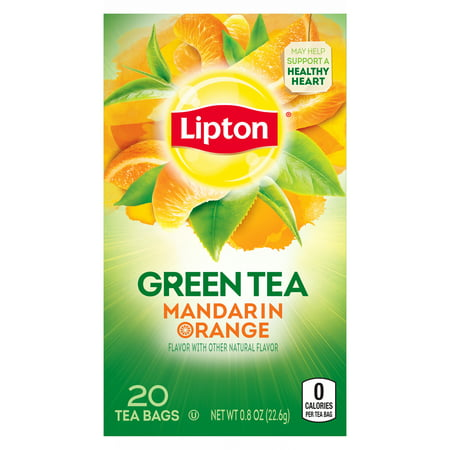 (4 Boxes) Lipton Green Tea Bags Mandarin Orange 20 ct (Intense Mandarin Orange)