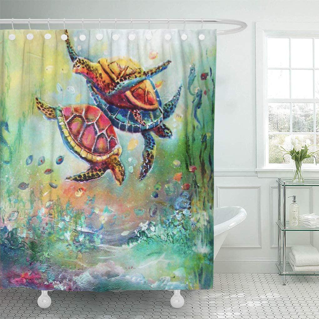 CYNLON Painting Dancing Sea Turtles Accessories Bathroom ...