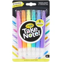 Crayola Take Note! Chisel Tip Erasable Highlighters, 6 Count, Ages 6+