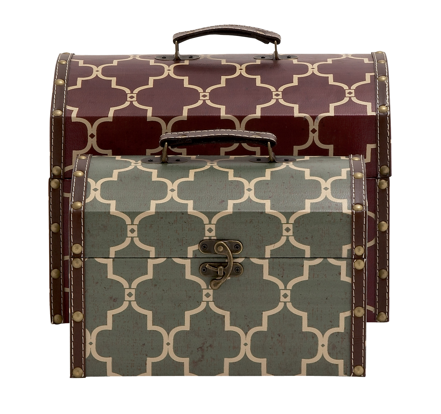 Woodland Imports 2 Piece Stylish and Vintage Themed Wood Vinyl Box Set