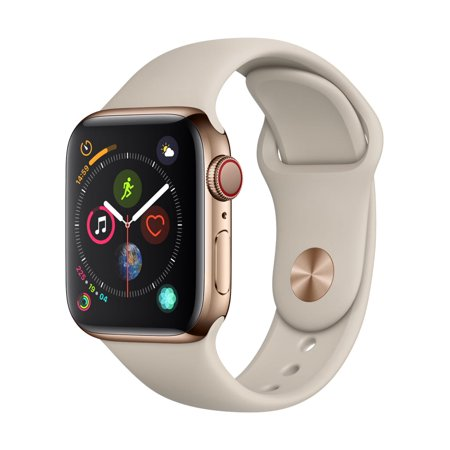 Apple Watch Series 4 GPS + Cellular - 40mm - Gold Stainless Steel Case - Stone Sport Band