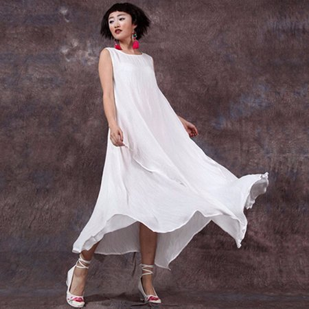 Women Summer Dress Sleeveless O Neck Long Maxi Linen Dresses Loose Plus  Size Dress