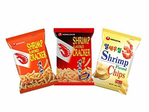 Nongshim Assorted Snack Pack Shrimp, Spicy Shrimp, Shrimp Chip (Pack of 3) by Nongshim