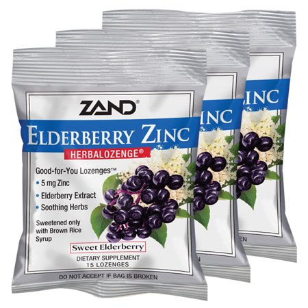 Zinc Syrup (Zand HerbaLozenge Elderberry Zinc | Good-For-You Lozenges for Dry Throats | No Corn Syrup, No Cane Sugar, No Colors | 15 Lozenge, 3 Bags)