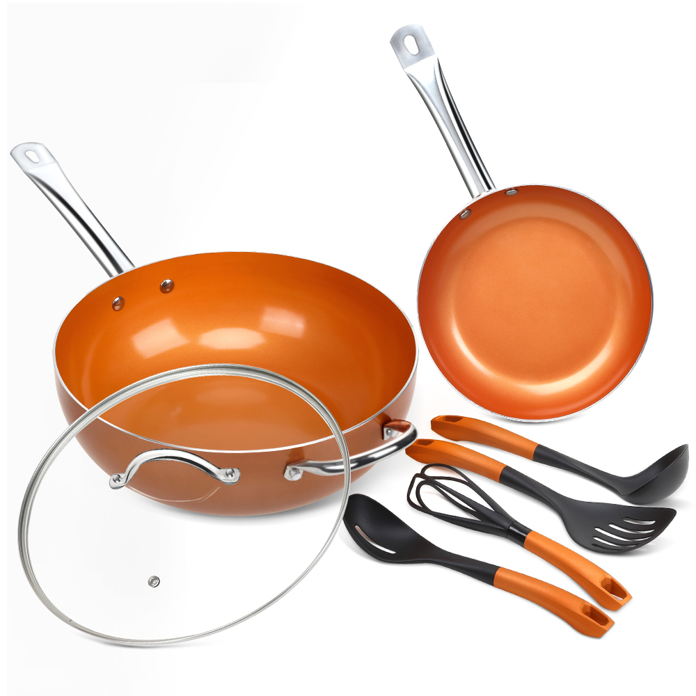 """SHINEURI 7-Pcs Nonstick Ceramic Cookware Set Copper Fry Pans and Cooking Utensil Set Induction with 12"""" Saute Pan, 9.5"""" Skillet Pan and 4-Pcs Silicone Kitchen Utensils Set, Stainless Steel Handle"""
