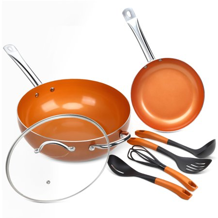 Interior Saute Pan - SHINEURI 7-Pcs Nonstick Ceramic Cookware Set Copper Fry Pans and Cooking Utensil Set Induction with 12