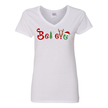 Christmas Shirt Believe Santa Claus Reindeer Womens V Neck T-Shirt Top