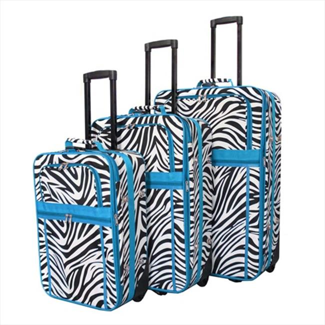 All-Seasons 818903-163-T Zebra Prints Expandable Upright Luggage Set, Teal Trim - 3 Piece