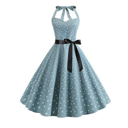 Women Vintage 50S 60S Polka Dot Halterneck Swing Maxi Dress Party Club Ball Gown