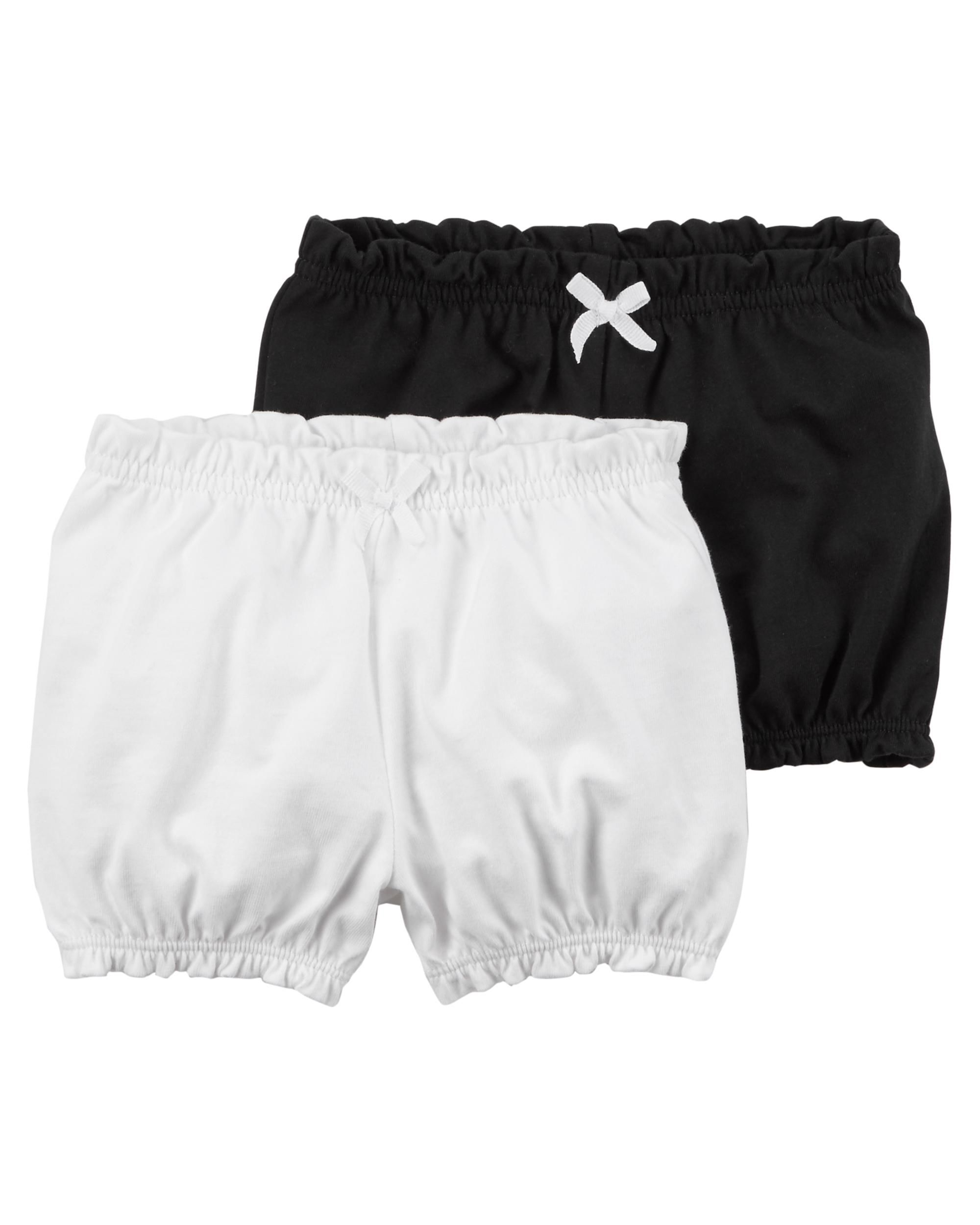 Carter's Baby Girls' 2-Pk. Crinkle Shorts -Black/White