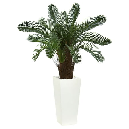 Nearly Natural 40 in. Cycas Artificial Tree in White Tower Planter UV Resistant (Indoor/Outdoor) ()
