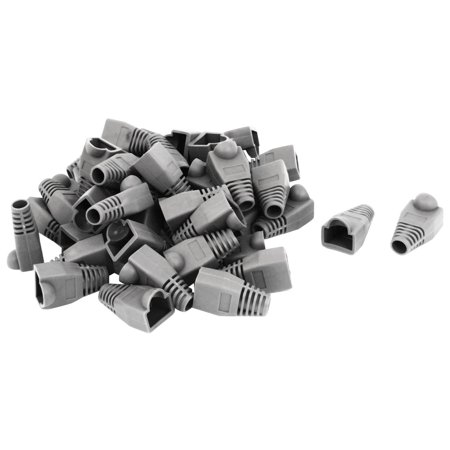 Unique Bargains Ethernet Network Gray Rubber RJ45 Plug Connector Boots Cover Cap Protector 50pcs
