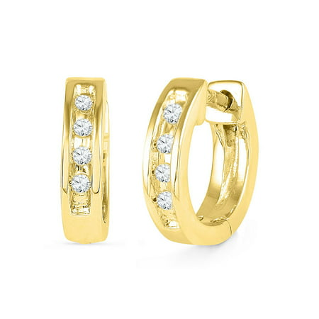 Ct Tw Polished Diamond Earrings (10kt Yellow Gold Womens Round Diamond Single Row Huggie Earrings 1/20 Cttw)