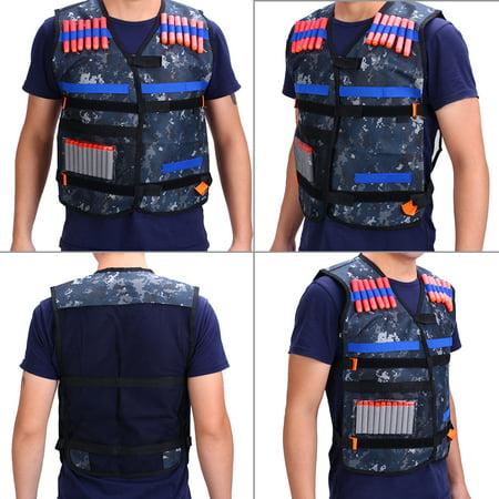 Ymiko Tactics Waterproof Vest with Foam Soft Dart Bullets Clip Holder for Outdoor Game