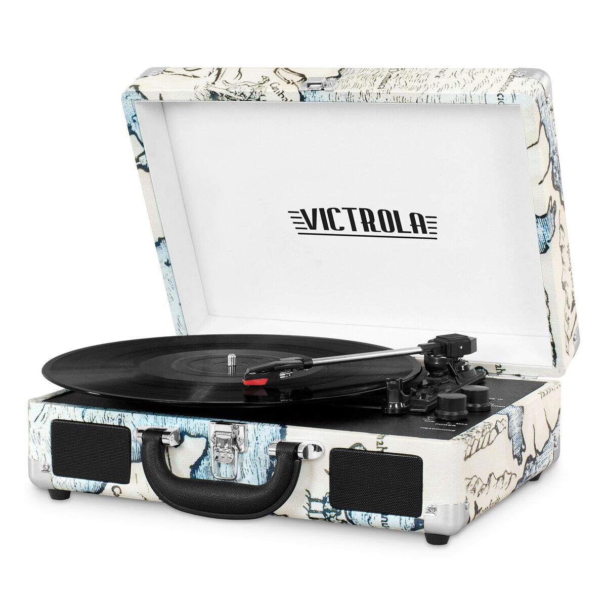 Victrola Bluetooth Portable Suitcase Record Player with 3-speed Turntable, Map Print