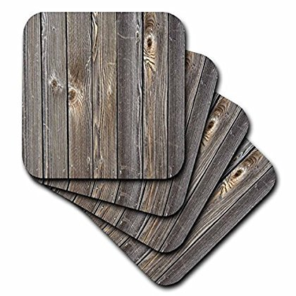 3dRose Print of Old Weathered Wood, Soft Coasters, set of 4