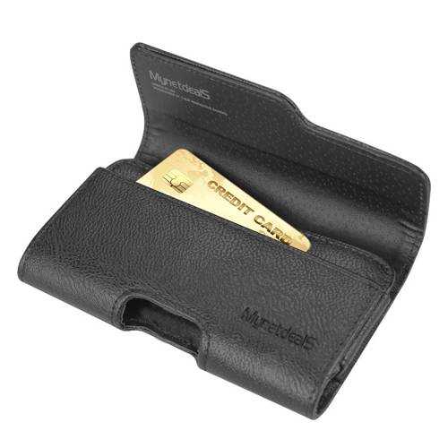 Premium Horizontal Leather Carrying Case Pouch Holster Wallet for Alcatel POP 4+-Black - w/ Card Holder and Belt Clip and Belt Loops - (Plus Size Fits Phone with Thick Cover Otterbox Defender Case/ Sy