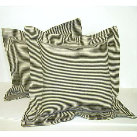 RLF HOME Green Flanged Ticking Stripe Pillow (Set of 2) (Green Ticking)