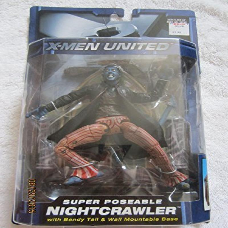 X-Men United X2 Super Poseable Nightcrawler Action Figure with Bendy Tail and Wall Mountable Base by