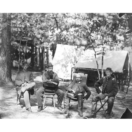 Civil War Soldiers Ncharles Francis Adams Jr  Hatless  A Future Historian Takes Part In History With Fellow Officers Of 1St Massachusetts Cavalry At The Army Of Potomac Headquarters Before The Fall Of