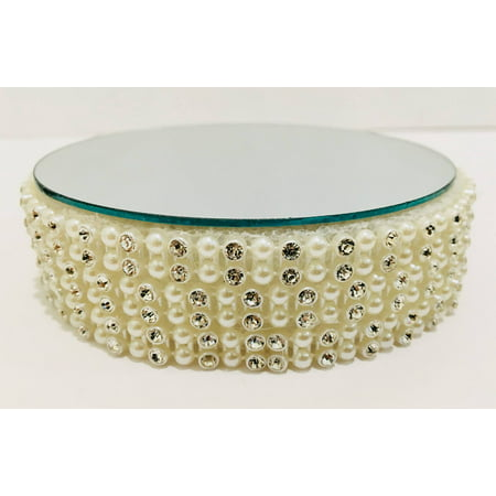 Round Pearl Beaded Rhinestone Mirror Cake Base Decoration Centerpiece For Wedding Special Events All Occasions - Round Mirror Centerpiece