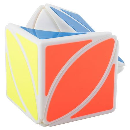 Peralng Maple Leaf Speed Magic Rubik Cube, White Base PVC Sticker Development Intelligence Special Toys Brain Teaser Gift Box, 2.22
