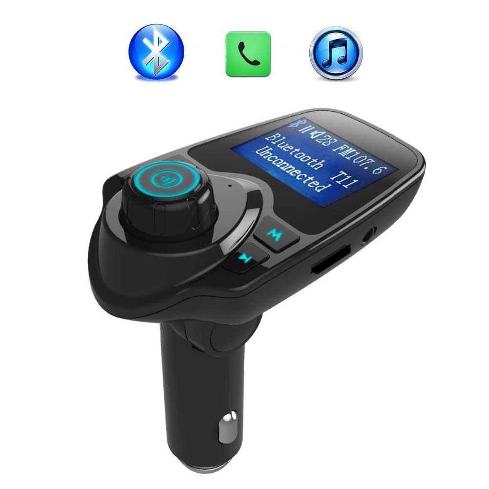 Bluetooth FM Transmitter Wireless Car Radio MP3 Adapter Car Kit USB Car Charger Aux Input SD Card Slot Hands-free Calling