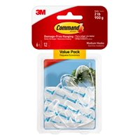 Command Clear Hooks, Medium, 6 Hooks, 12 Strips Per Pack