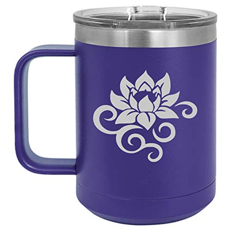 15 oz Tumbler Coffee Mug Travel Cup With Handle & Lid Vacuum Insulated Stainless Steel Lotus Flower Scroll (Purple)