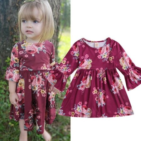 Toddler Kids Baby Girl Wine Red Bell Sleeve Flower Party Dress Casual Clothes