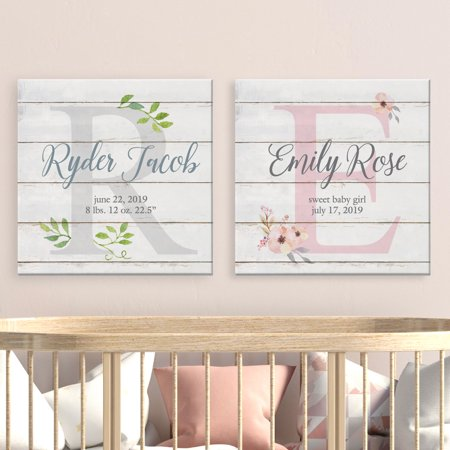 Personalized Baby Canvas - Personalized Elegant Baby Name Canvas - Available in 2 Patters and 2 Sizes