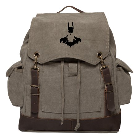 Batman Face Silhouette Vintage Canvas Rucksack Backpack with Leather