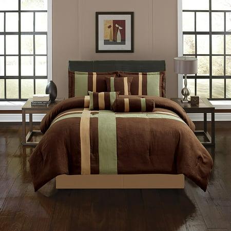 7 Piece Queen Sage (Empire Home Sage & Brown Cross 7 Piece Solid Suede Soft Comforter Set (Queen)