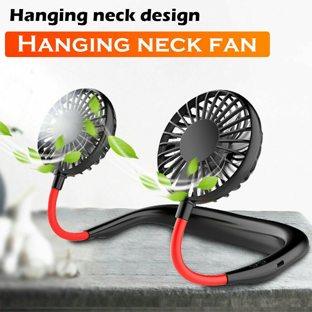 Neck Band Personal Portable Mini Air Fan With Dual Fan USB Rechargeable Small