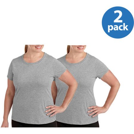 Danskin Now Womens Plus Size Dri-More Core Workout Tee With Wicking- 2-pack Value Bundle